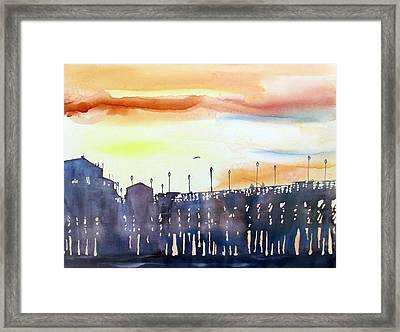 Framed Print featuring the painting Fishing At Sunset by Tom Riggs