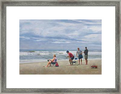 Fishing At The Beach Framed Print by Norman Drake