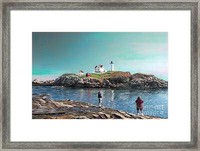 Fishing At The Nubble Lighthouse Framed Print