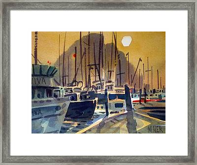 Fishing Boasts On Moro Bay Framed Print by Donald Maier