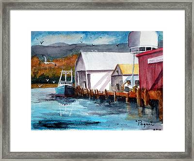 Fishing Boat And Dock Watercolor Framed Print