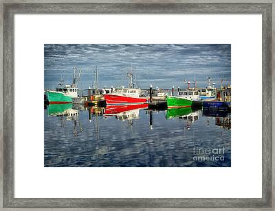 Fishing Boat Reflections At Macmillan Pier In Provincetown Cape  Framed Print by Matt Suess