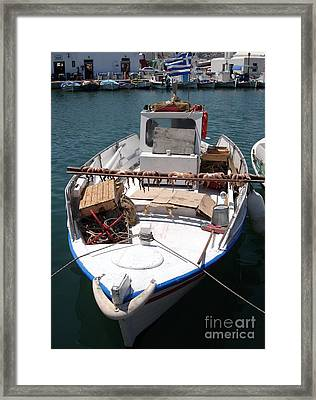 Fishing Boat With Octopus Drying Framed Print by Jane Rix