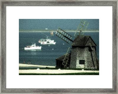 Fishing Boats And Windmill In Chatham On Cape Cod Massachusetts Framed Print