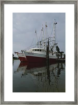 Fishing Boats At Dock Framed Print by Medford Taylor