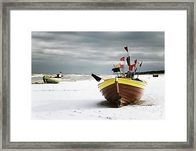 Fishing Boats At Snowy Beach Framed Print