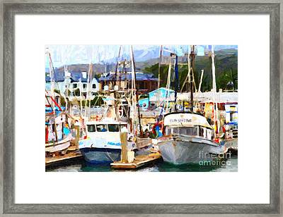 Fishing Boats At The Dock . 7d8213 Framed Print by Wingsdomain Art and Photography