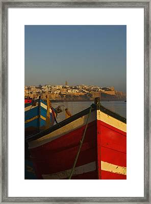 Fishing Boats In Front Of Kasbah Des Framed Print