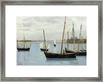 Fishing Boats Framed Print by Jean Baptiste Camille Corot