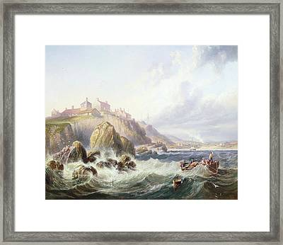 Fishing Boats Off Scotland Framed Print by John Wilson Carmichael