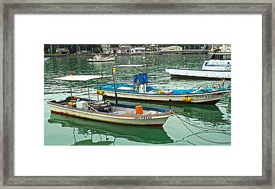 Fishing Boats - Okinawa Japan Framed Print by Jocelyn Kahawai