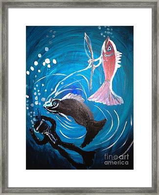 Fishing For Revenge Framed Print by Pretchill Smith