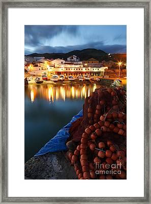 Fishing Harbour At Dusk Framed Print by Gaspar Avila