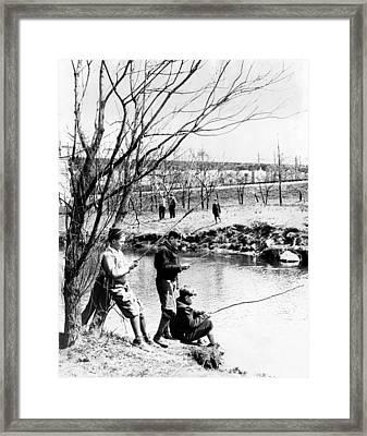 Fishing In The Bronx River,  New York Framed Print by Everett