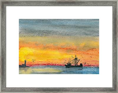 Fishing In The Evening  Framed Print by R Kyllo