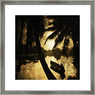 River In Vietnam With Boat And Fisherman Framed Print