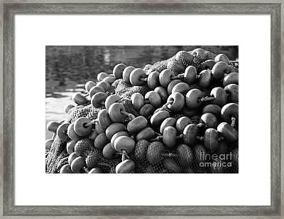 Fishing Nets And Buoys Framed Print