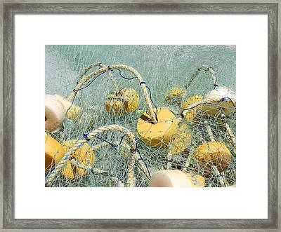 Fishing Nets And Weights Framed Print by Anne Mott