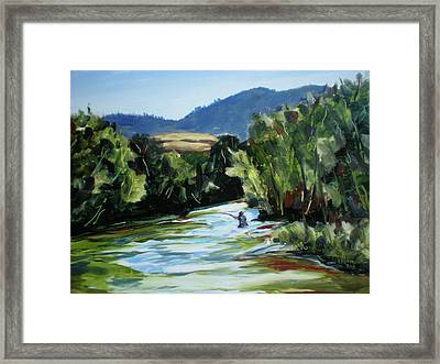 Fishing On The Boise Framed Print by Les Herman