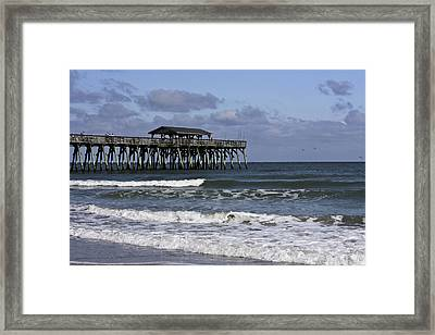 Fishing On The Pier Framed Print