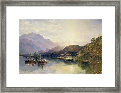 Fishing Party At Loch Achray With A View Of Ben Venue Beyond Framed Print