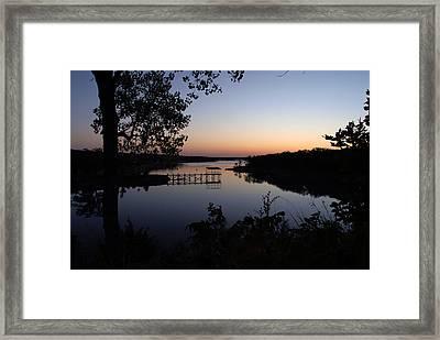 Fishing Pier At Dawn Framed Print by Cindy Rubin