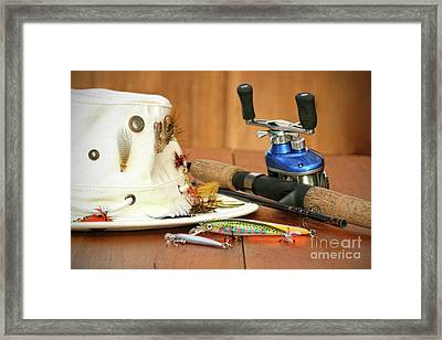 Fishing Reel With Hat And Color Lures Framed Print