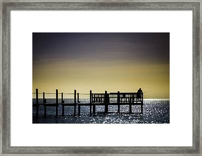Fishing The End Of The Pier Framed Print by Mabry Campbell