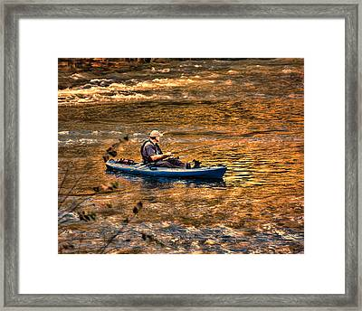 Fishing The Golden Hour Framed Print by Steven Richardson