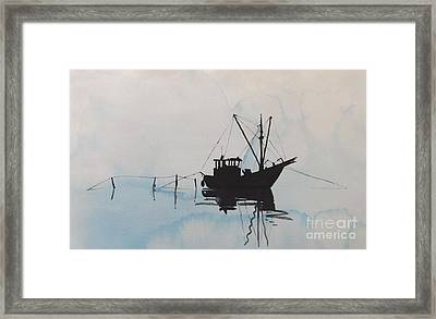 Fishingboat In Foggy Weather Framed Print by Annemeet Hasidi- van der Leij