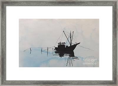 Fishingboat In Foggy Weather Framed Print