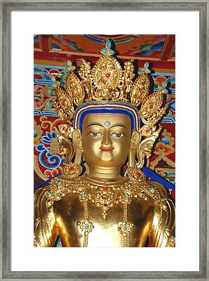 Framed Print featuring the photograph Five Dhyani Buddhas 1 by Lanjee Chee