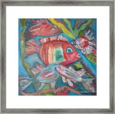 Five Fish Framed Print by Marlene Robbins