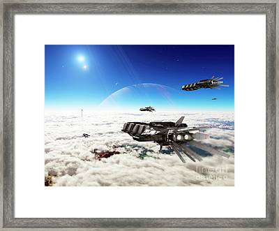 Five Medium Freighters Deccelerate Framed Print by Brian Christensen