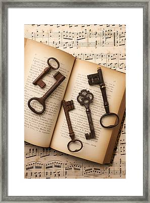 Five Old Keys Framed Print by Garry Gay