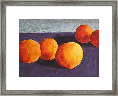 Five Peaches Framed Print by Dina Day