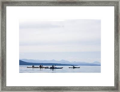 Five People Kayak In The Gulf Islands Framed Print by Taylor S. Kennedy