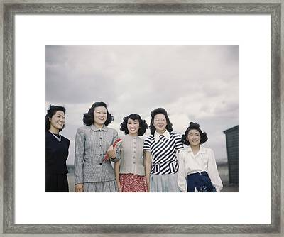 Five Smiling Japanese American Women Framed Print by Everett