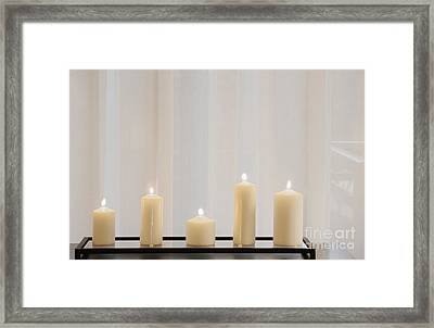 Five White Lit Candles Framed Print