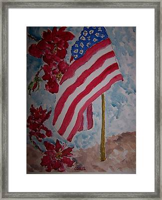 Flag And Roses Framed Print by James Cox