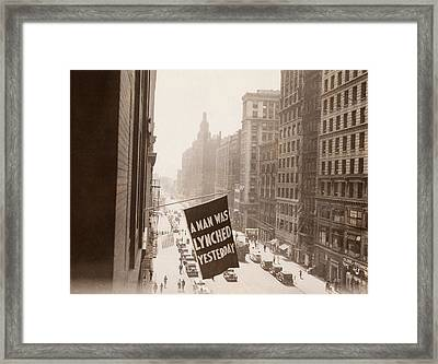 Flag Announcing Another Lynching. A Man Framed Print