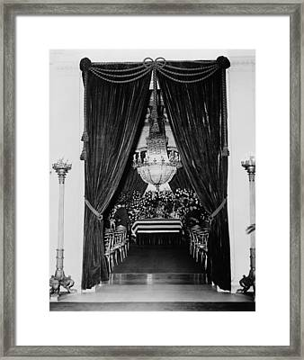 Flag-draped Casket Of President Framed Print by Everett