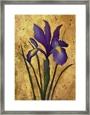 Framed Print featuring the mixed media Flag Iris With Gold Leaf by Kerri Ligatich