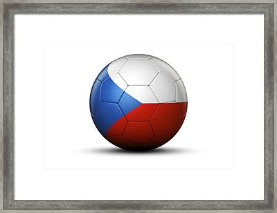 Flag Of Czech Republic On Soccer Ball Framed Print by Bjorn Holland