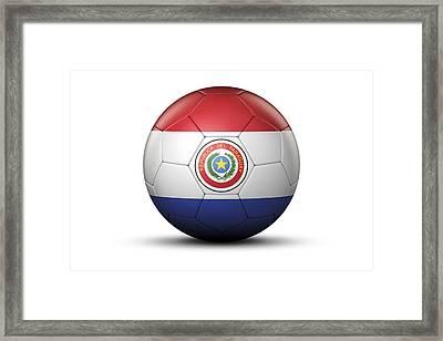 Flag Of Paraguay On Soccer Ball Framed Print