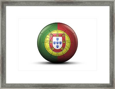Flag Of Portugal On Soccer Ball Framed Print by Bjorn Holland
