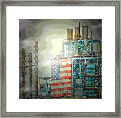 Flag On Refinery Framed Print
