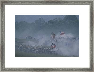 Flags, Soldiers, And Gun Smoke Framed Print by Kenneth Garrett