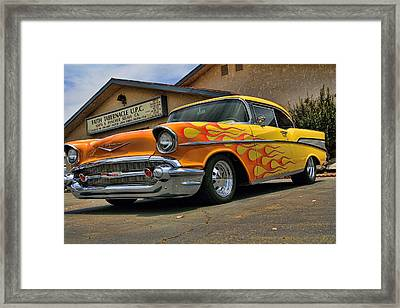 Flamed 57 Chevy Framed Print by Fred Wilson