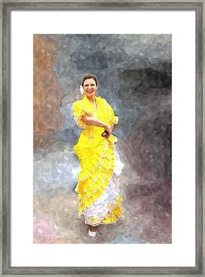 Framed Print featuring the photograph Flamenco Dancer In Yellow by Davandra Cribbie